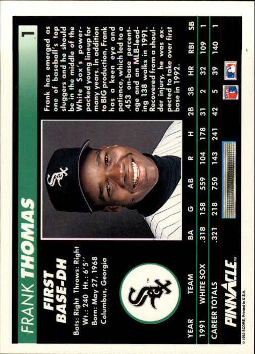 1992 Pinnacle #1 Frank Thomas back image