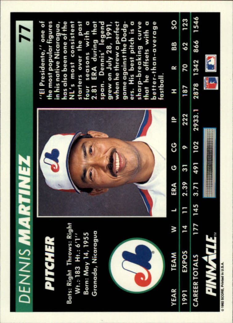 1992 Pinnacle #77 Dennis Martinez back image