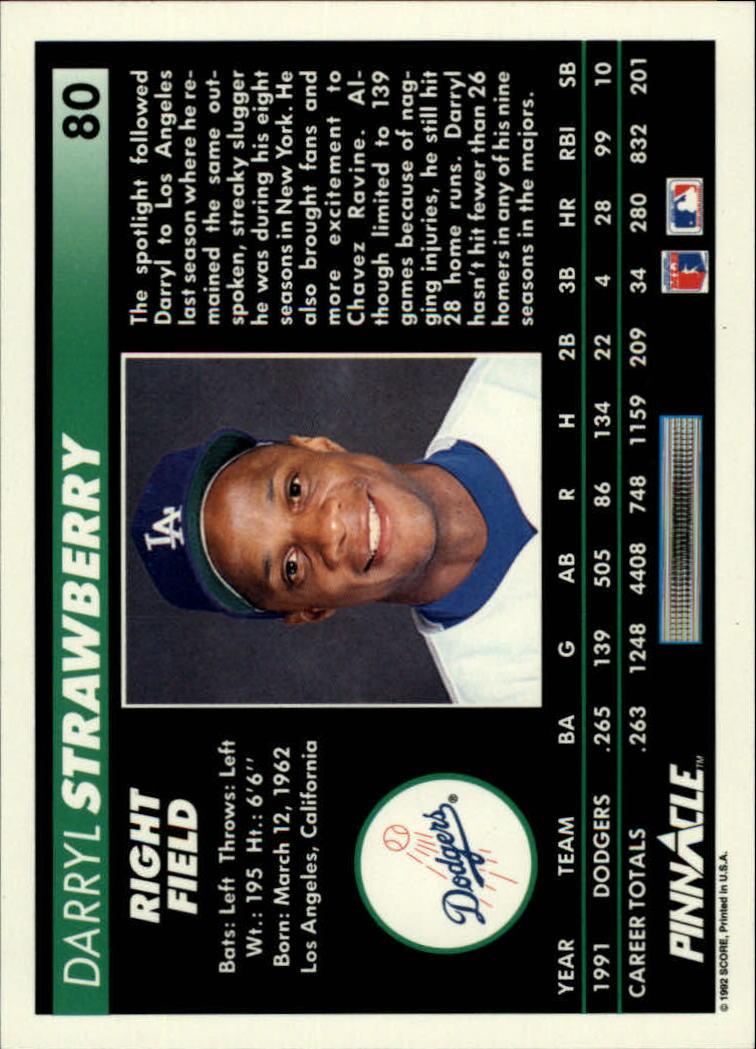 1992 Pinnacle #80 Darryl Strawberry back image