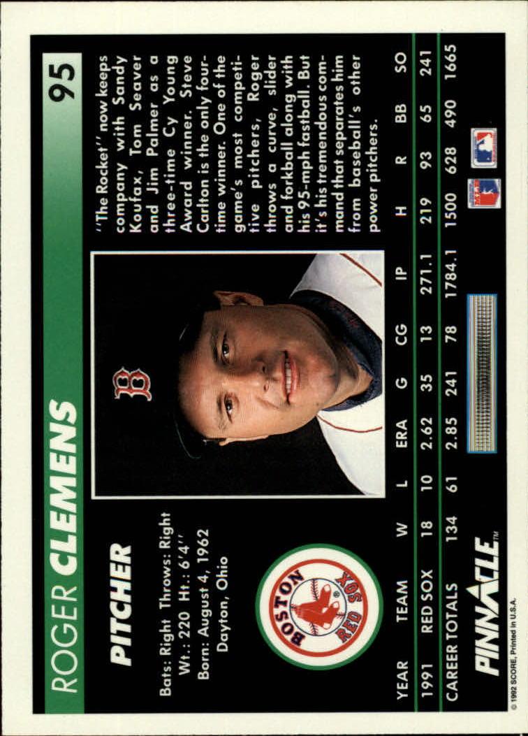 1992 Pinnacle #95 Roger Clemens back image