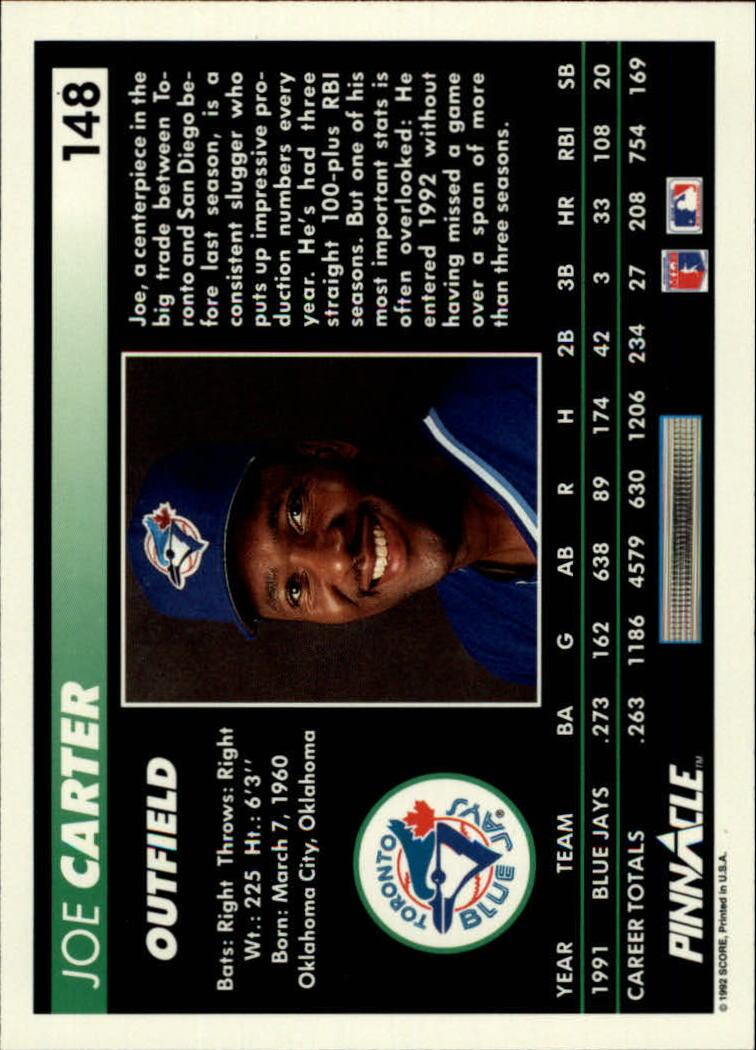 1992 Pinnacle #148 Joe Carter back image