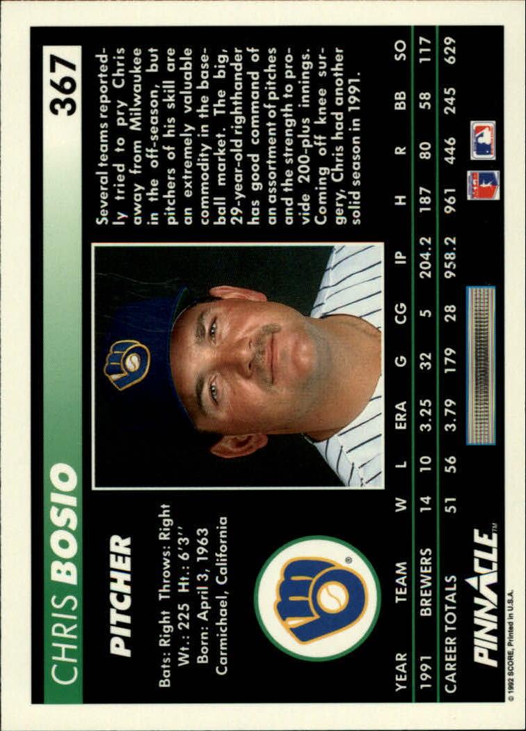 1992 Pinnacle #367 Chris Bosio back image