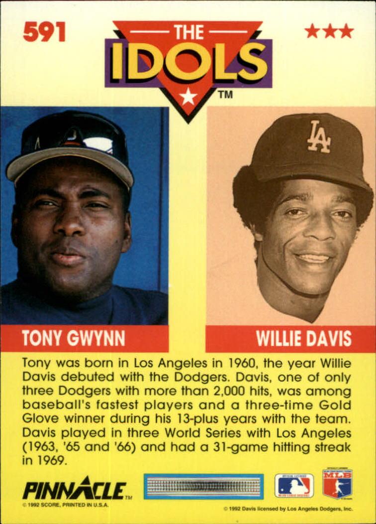 1992 Pinnacle #591 Tony Gwynn/Willie Davis IDOLS back image
