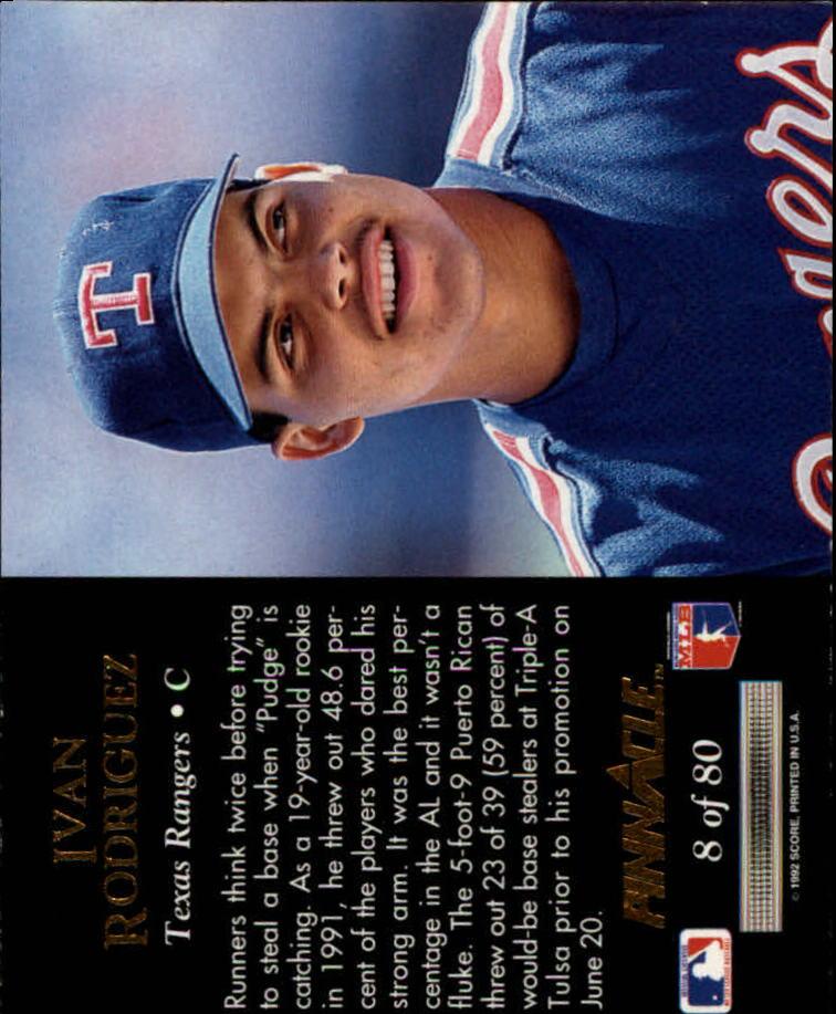 1992 Pinnacle Team 2000 #8 Ivan Rodriguez back image
