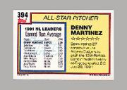 1992 Topps Micro #394 Dennis Martinez AS back image