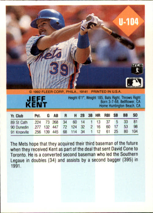 1992 Fleer Update #104 Jeff Kent RC back image