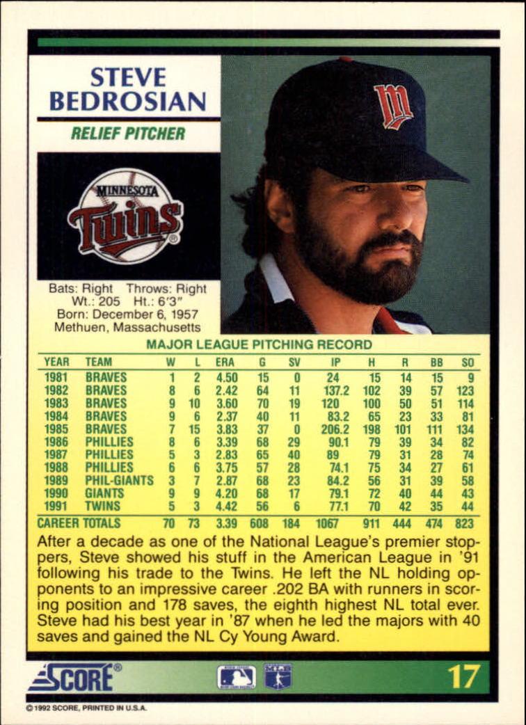 1992 Score #17 Steve Bedrosian back image