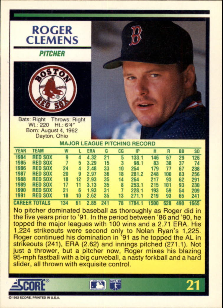 1992 Score #21 Roger Clemens back image