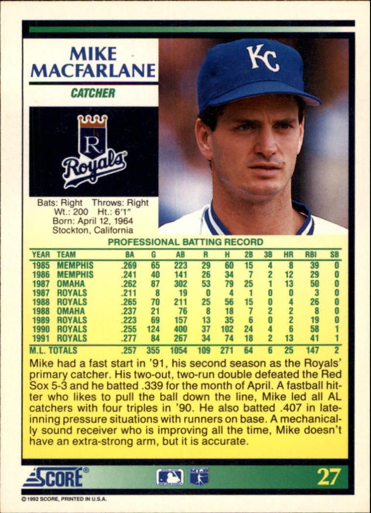 1992 Score #27 Mike Macfarlane back image