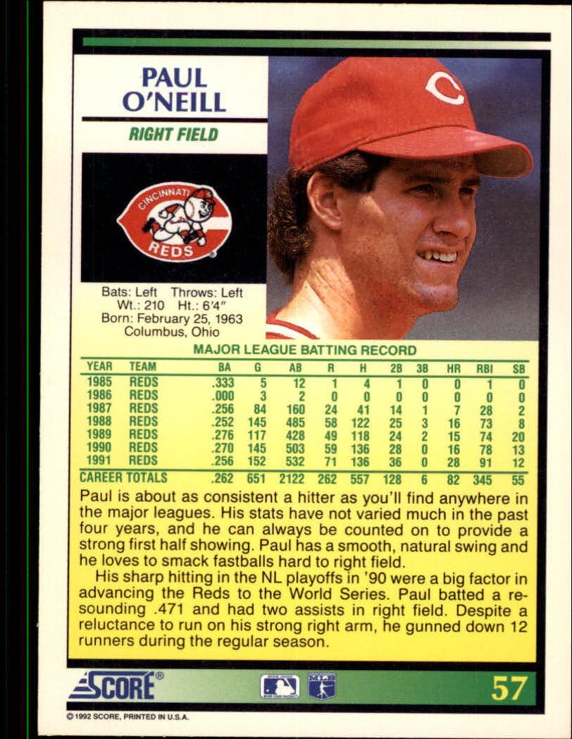 1992 Score #57 Paul O'Neill back image