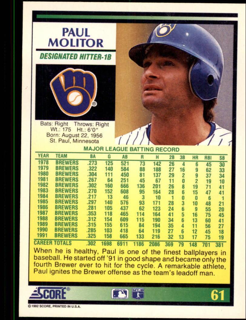 1992 Score #61 Paul Molitor back image