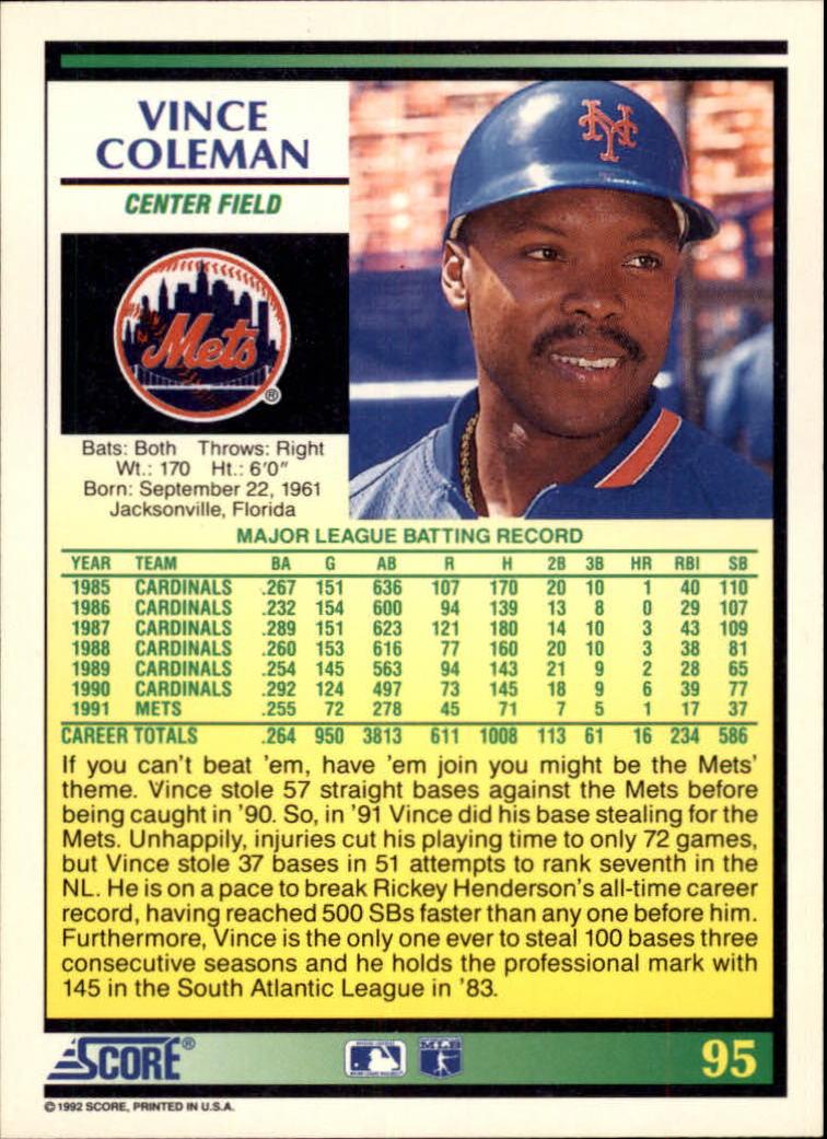 1992 Score #95 Vince Coleman back image