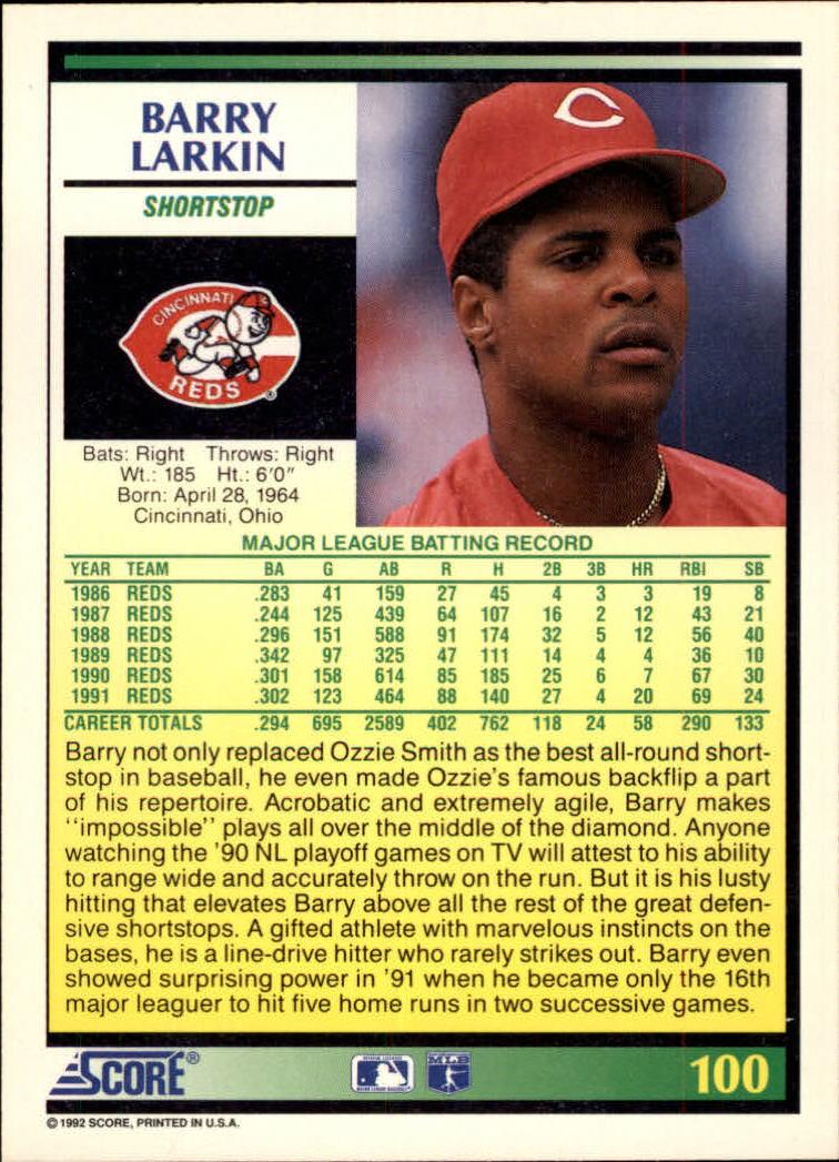 1992 Score #100 Barry Larkin back image