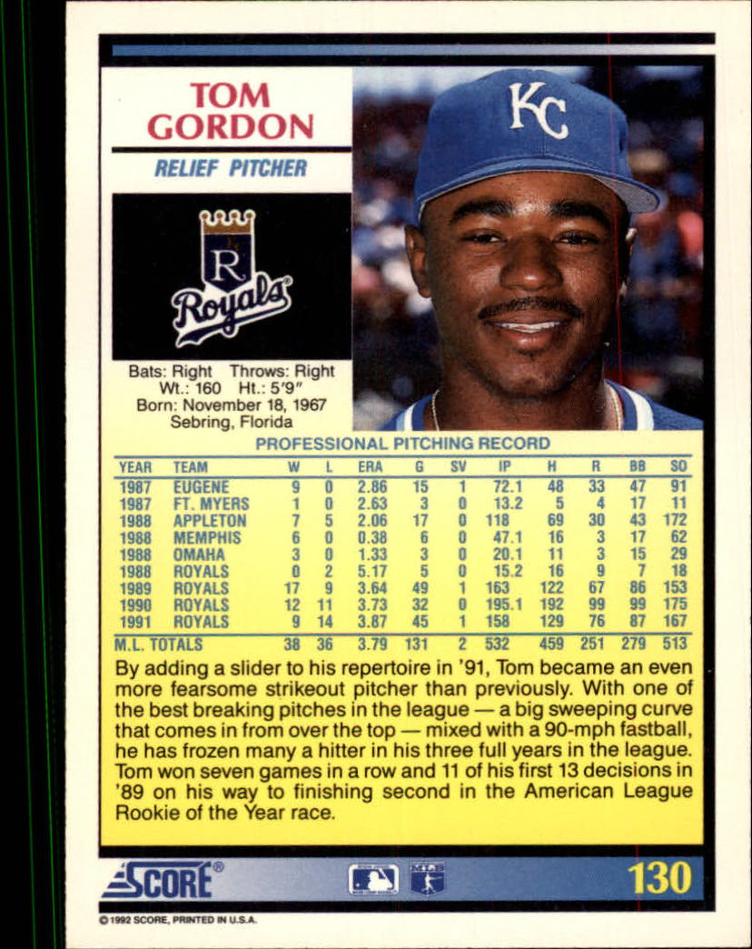 1992 Score #130 Tom Gordon back image