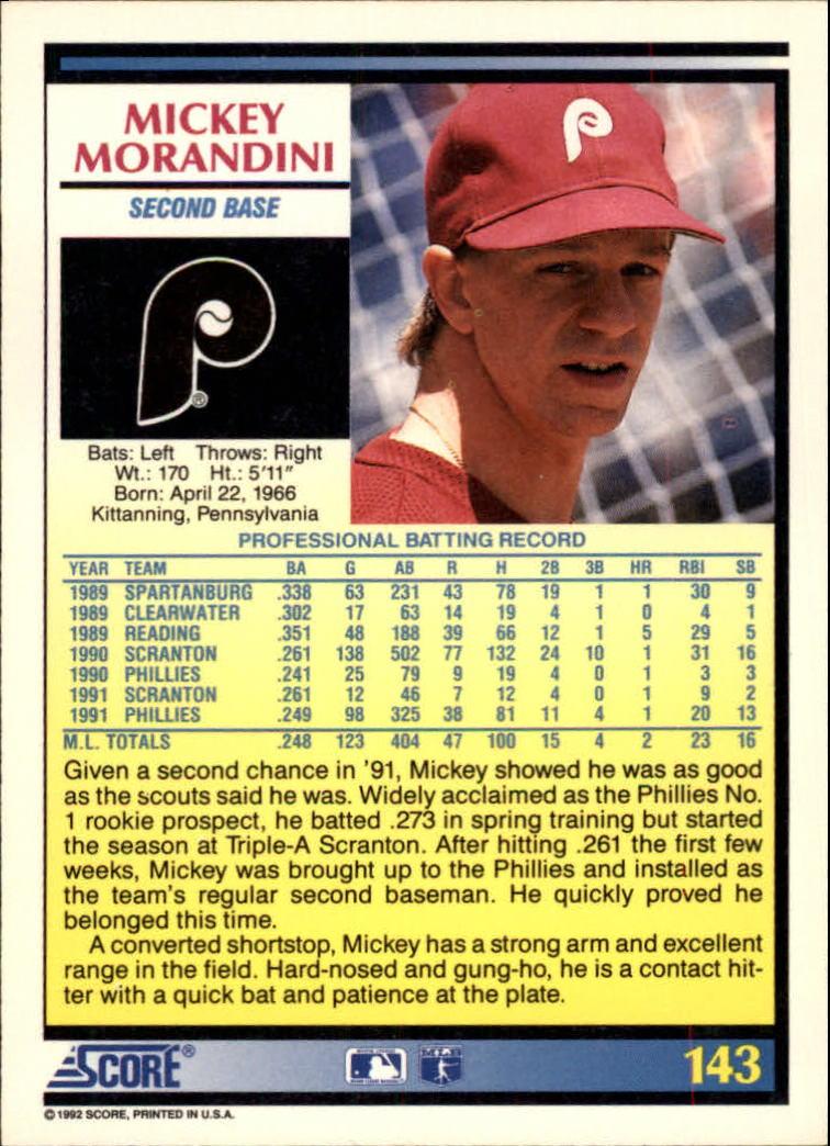 1992 Score #143 Mickey Morandini back image
