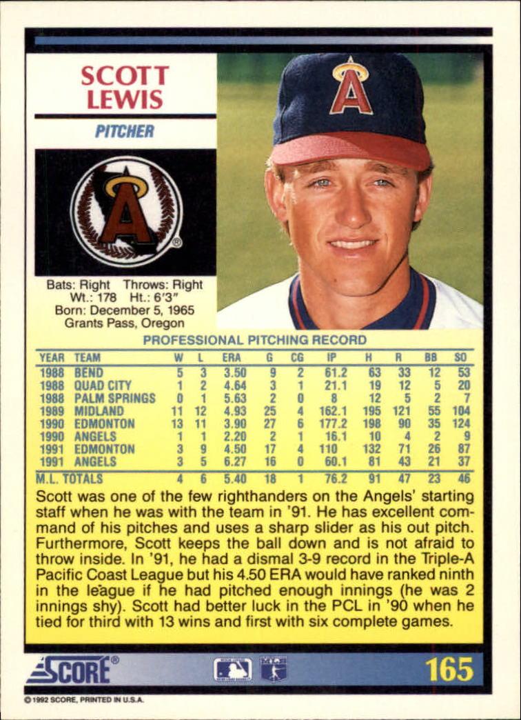 1992 Score #165 Scott Lewis back image