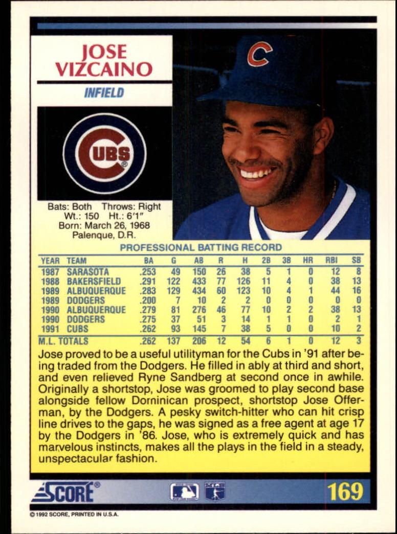 1992 Score #169 Jose Vizcaino back image