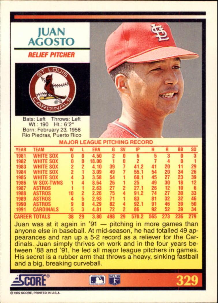 1992 Score #329 Juan Agosto back image