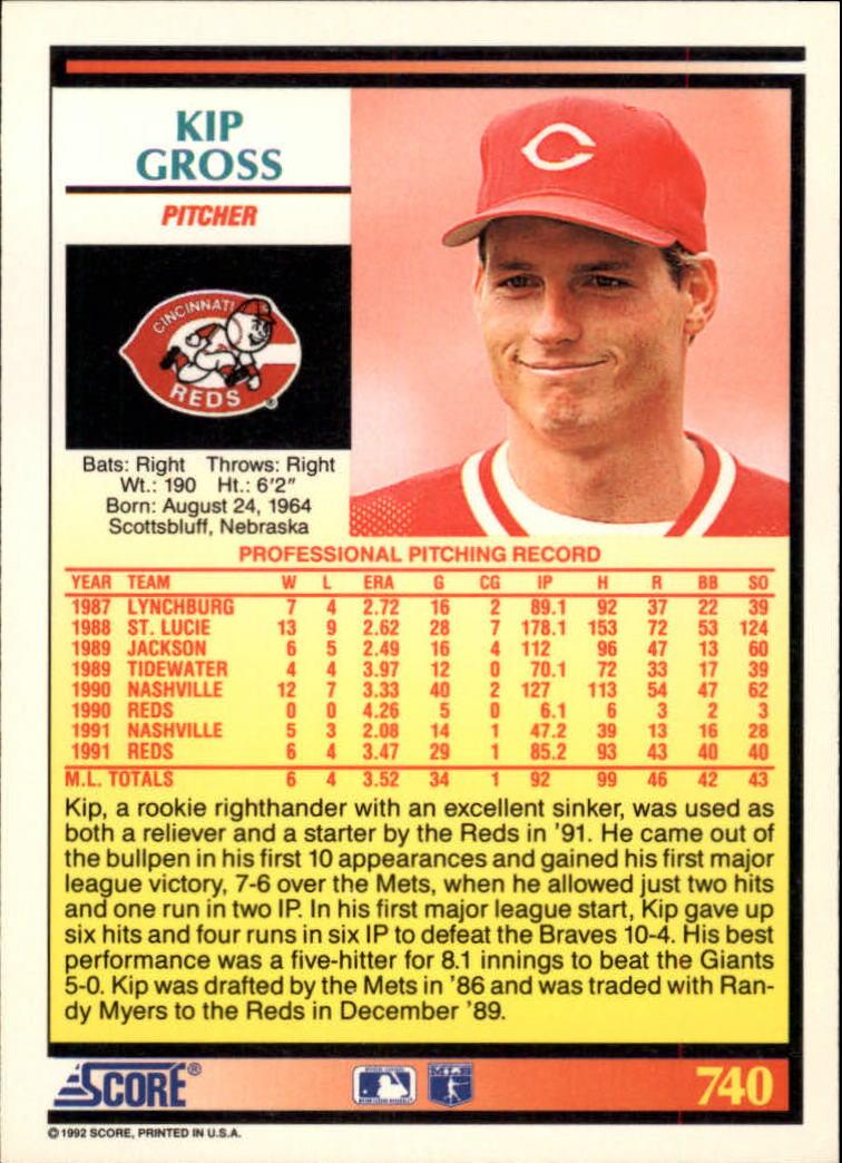 1992 Score #740 Kip Gross back image