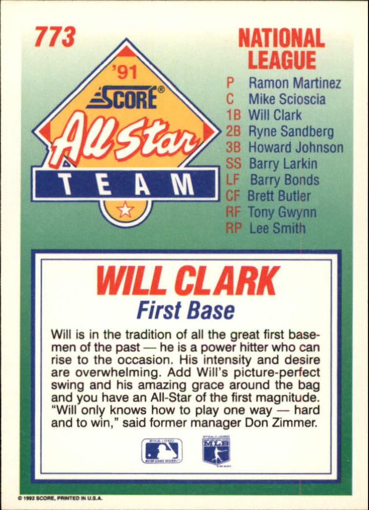 1992 Score #773 Will Clark AS back image