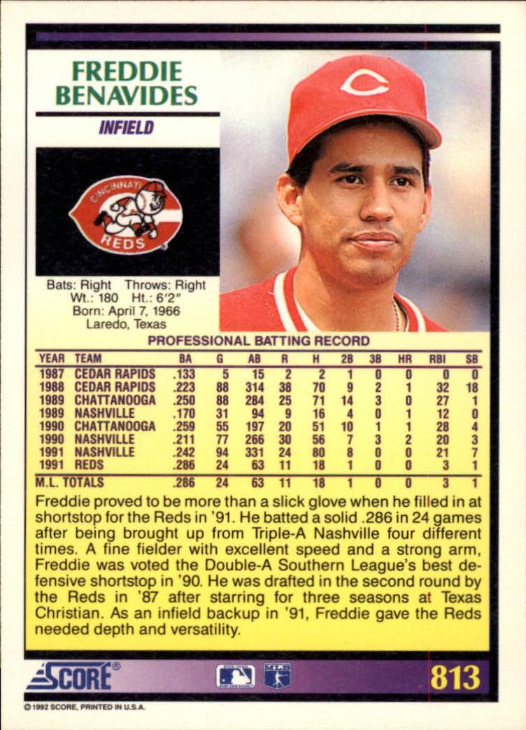 1992 Score #813 Freddie Benavides back image