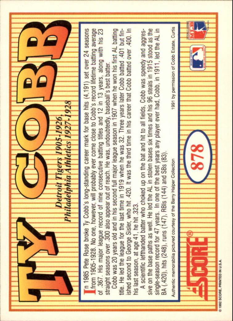 1992 Score #878 Ty Cobb MEMO back image