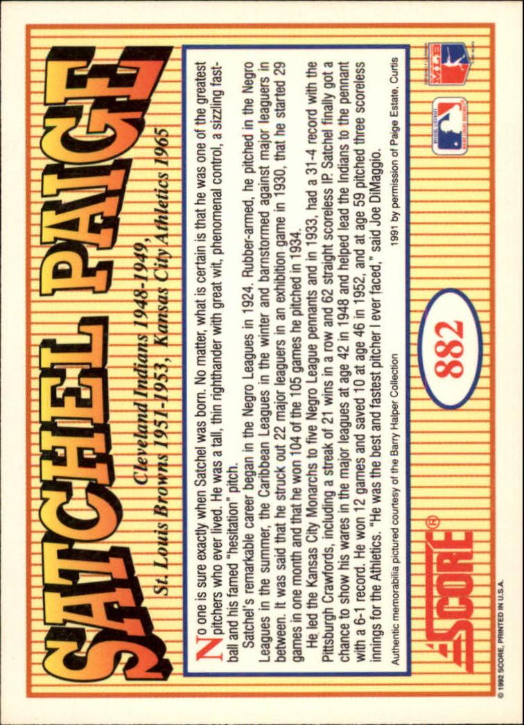 1992 Score #882 Satchel Paige MEMO back image