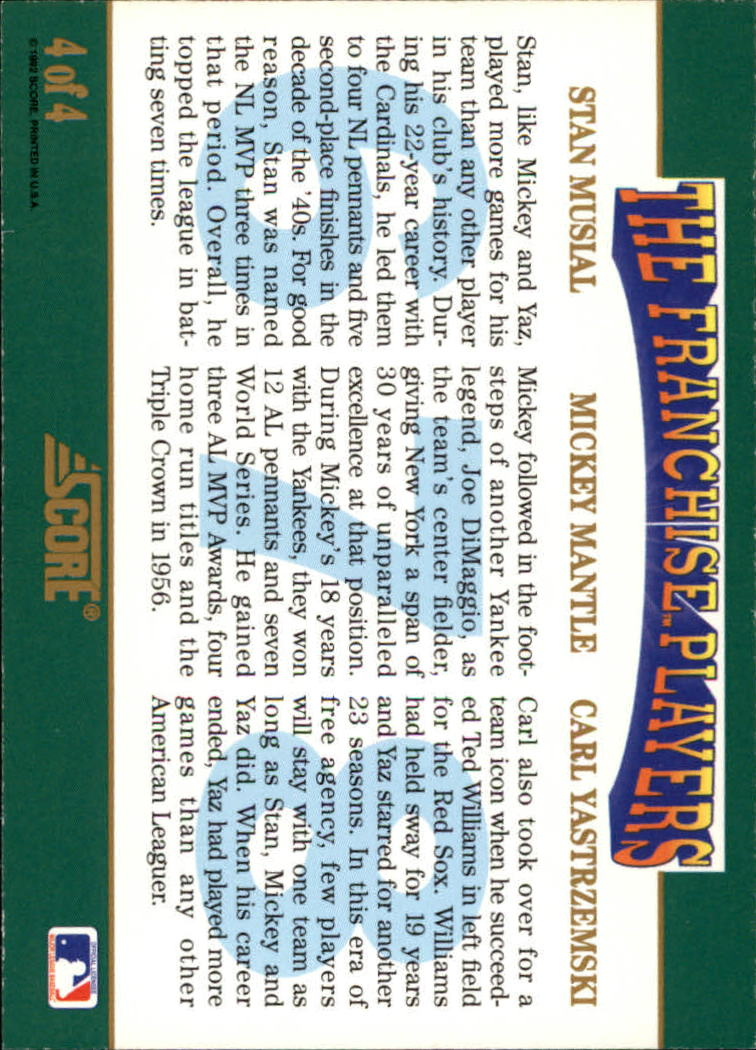 1992 Score Franchise #4 Musial/Mantle/Yaz back image