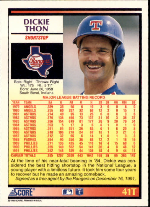 1992 Score Rookie/Traded #41T Dickie Thon back image