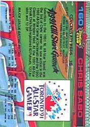 1992 Stadium Club Dome #160 Chris Sabo back image