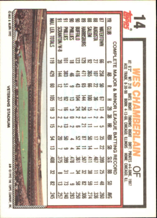 1992 Topps #14 Wes Chamberlain back image