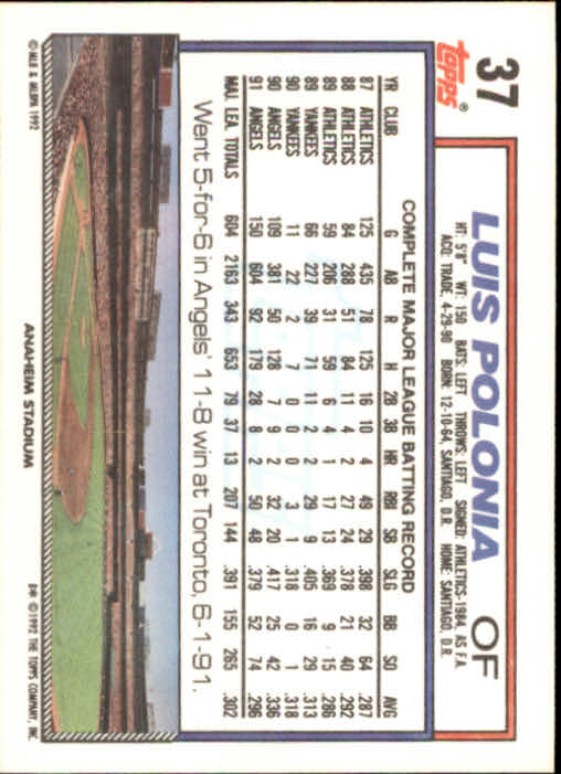 1992 Topps #37 Luis Polonia back image