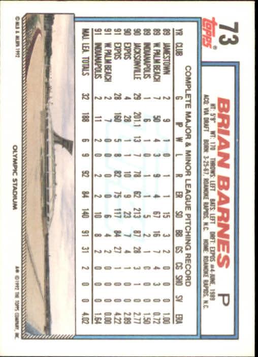 1992 Topps #73 Brian Barnes back image