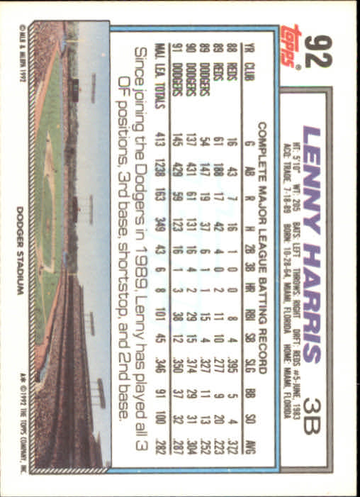 1992 Topps #92 Lenny Harris back image