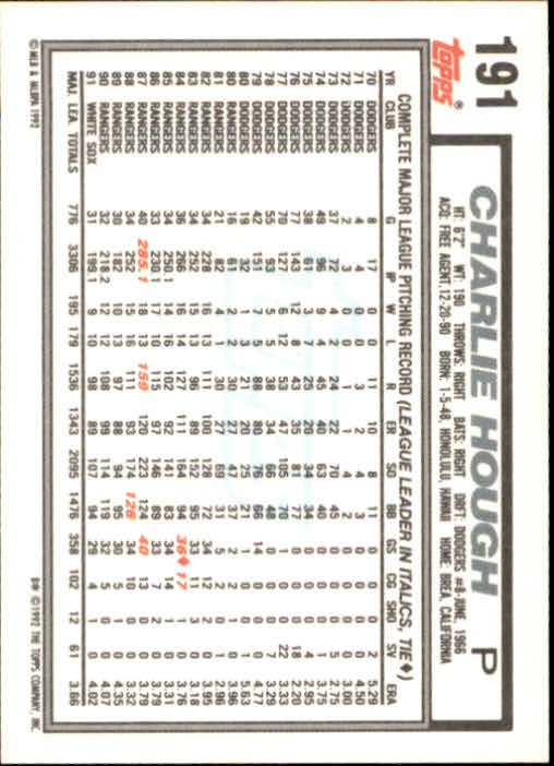 1992 Topps #191 Charlie Hough back image