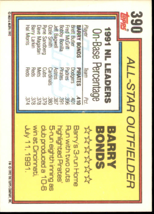 1992 Topps #390 Barry Bonds AS back image