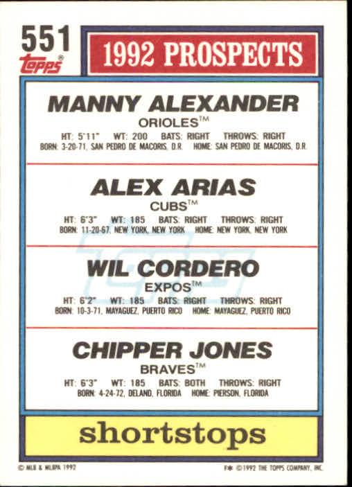 1992 Topps #551 Wilfredo Cordero/Chipper Jones/Manny Alexander/Alex Arias UER/No line around/top border back image