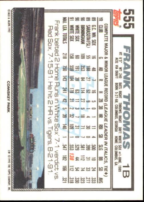 1992 Topps #555 Frank Thomas back image