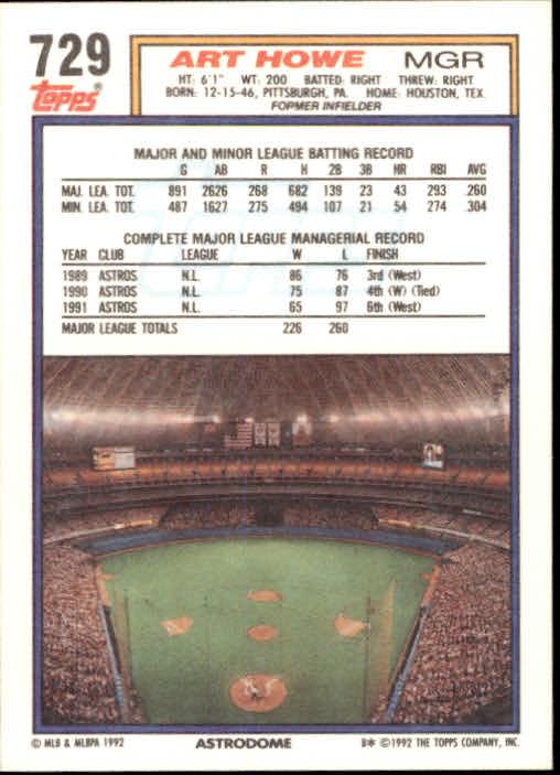 1992 Topps #729 Art Howe MG back image