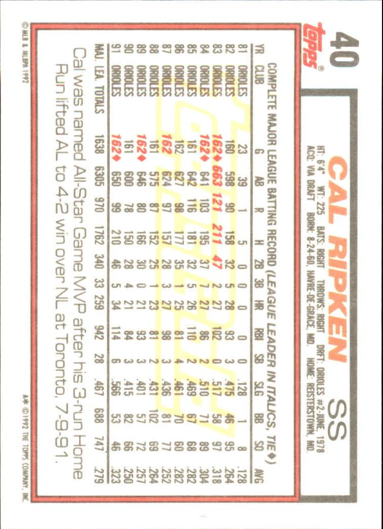 1992 Topps Gold #40 Cal Ripken/Gehrig back image