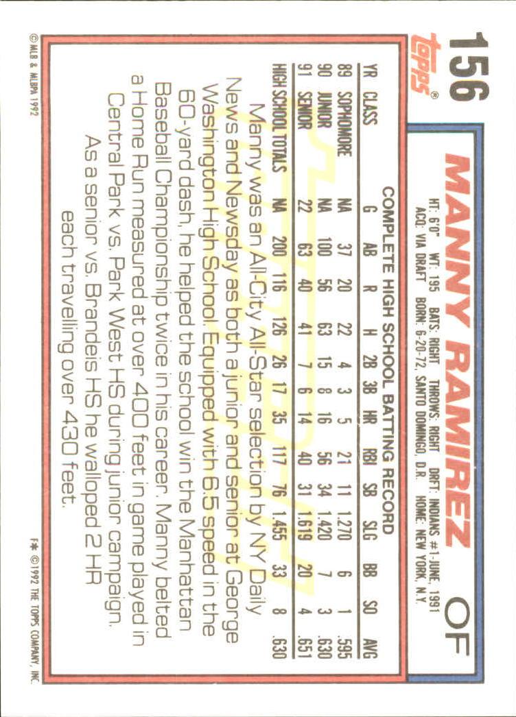 1992 Topps Gold #156 Manny Ramirez back image