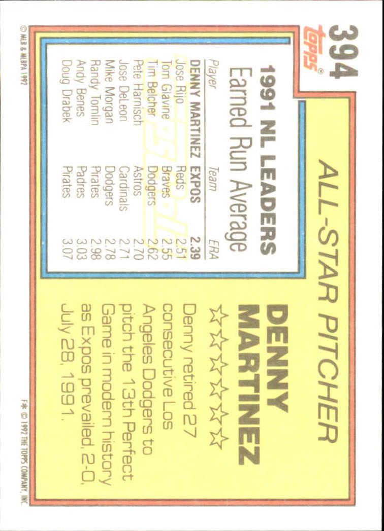 1992 Topps Gold #394 Dennis Martinez AS back image