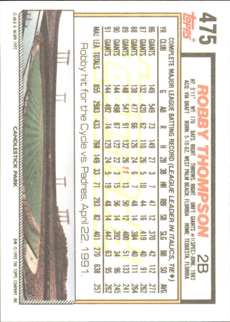 1992 Topps Gold #475 Robby Thompson back image