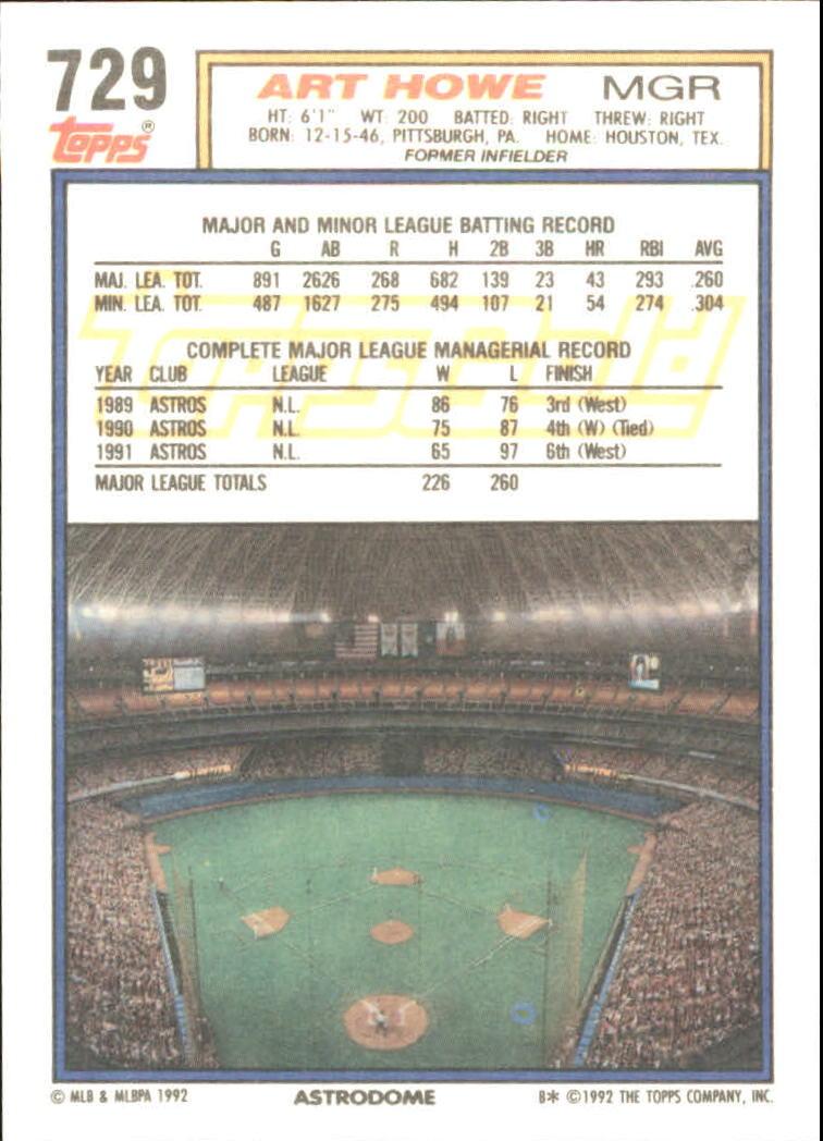 1992 Topps Gold #729 Art Howe MG back image