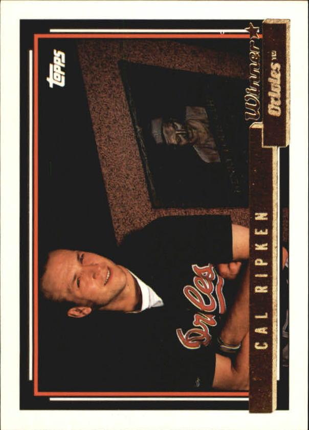 1992 Topps Gold Winners #40 Cal Ripken/Gehrig