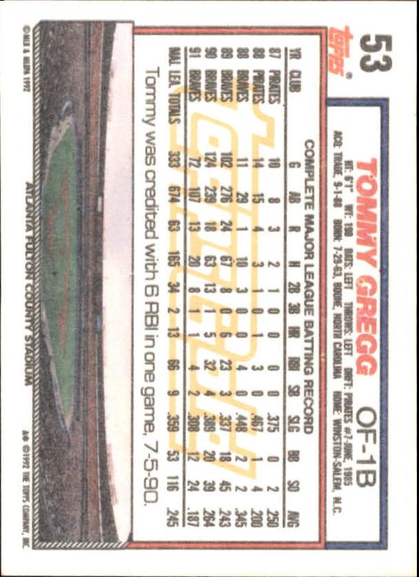 1992 Topps Gold Winners #53 Tommy Gregg back image