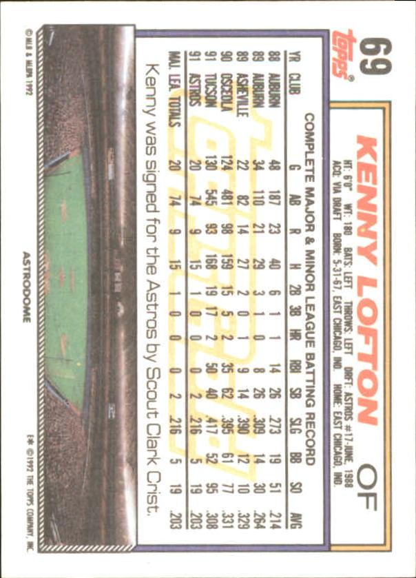 1992 Topps Gold Winners #69 Kenny Lofton back image