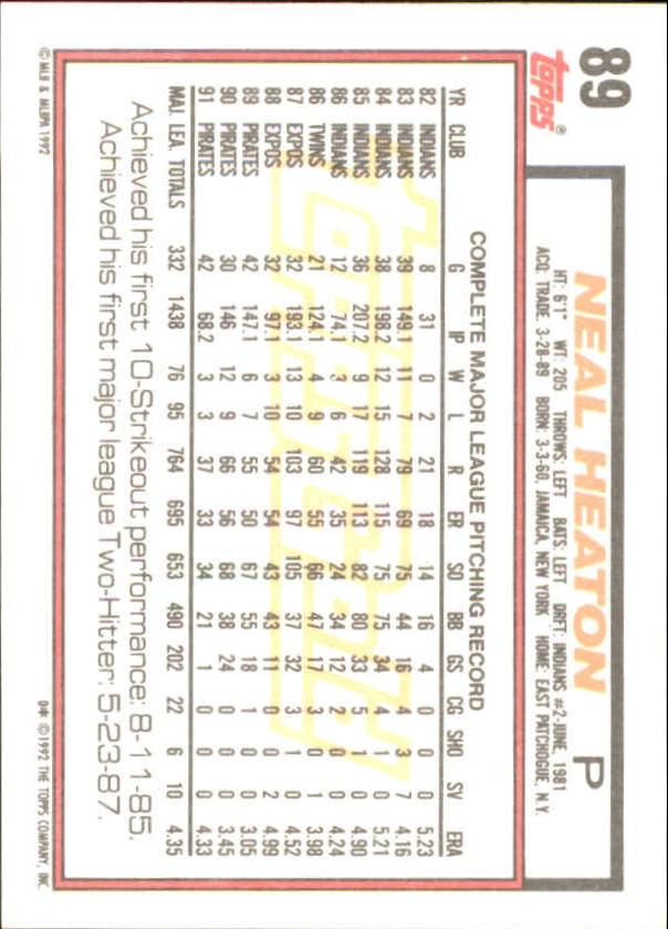 1992 Topps Gold Winners #89 Neal Heaton back image