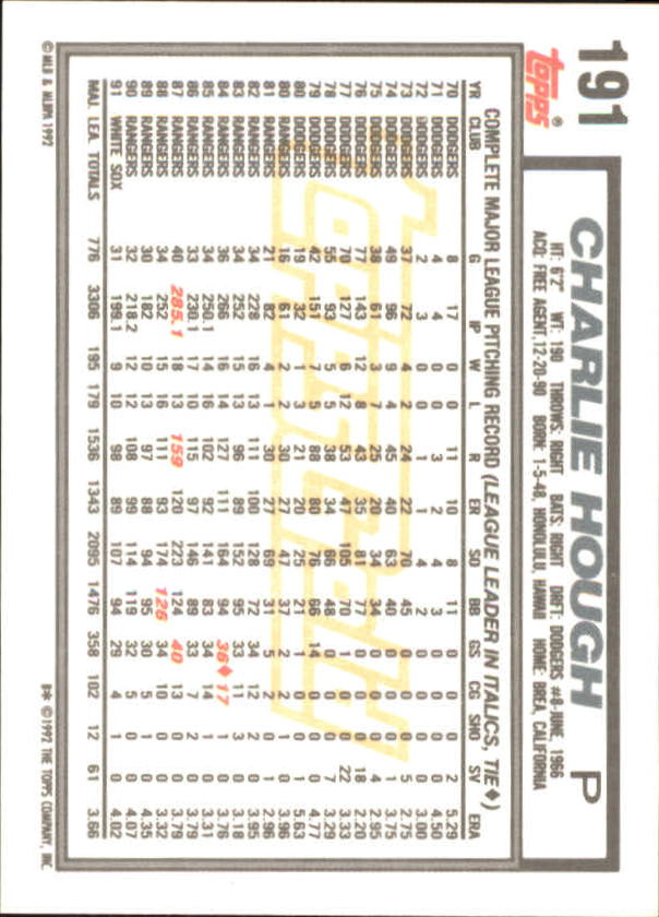 1992 Topps Gold Winners #191 Charlie Hough back image