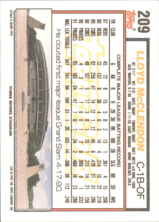 1992 Topps Gold Winners #209 Lloyd McClendon back image